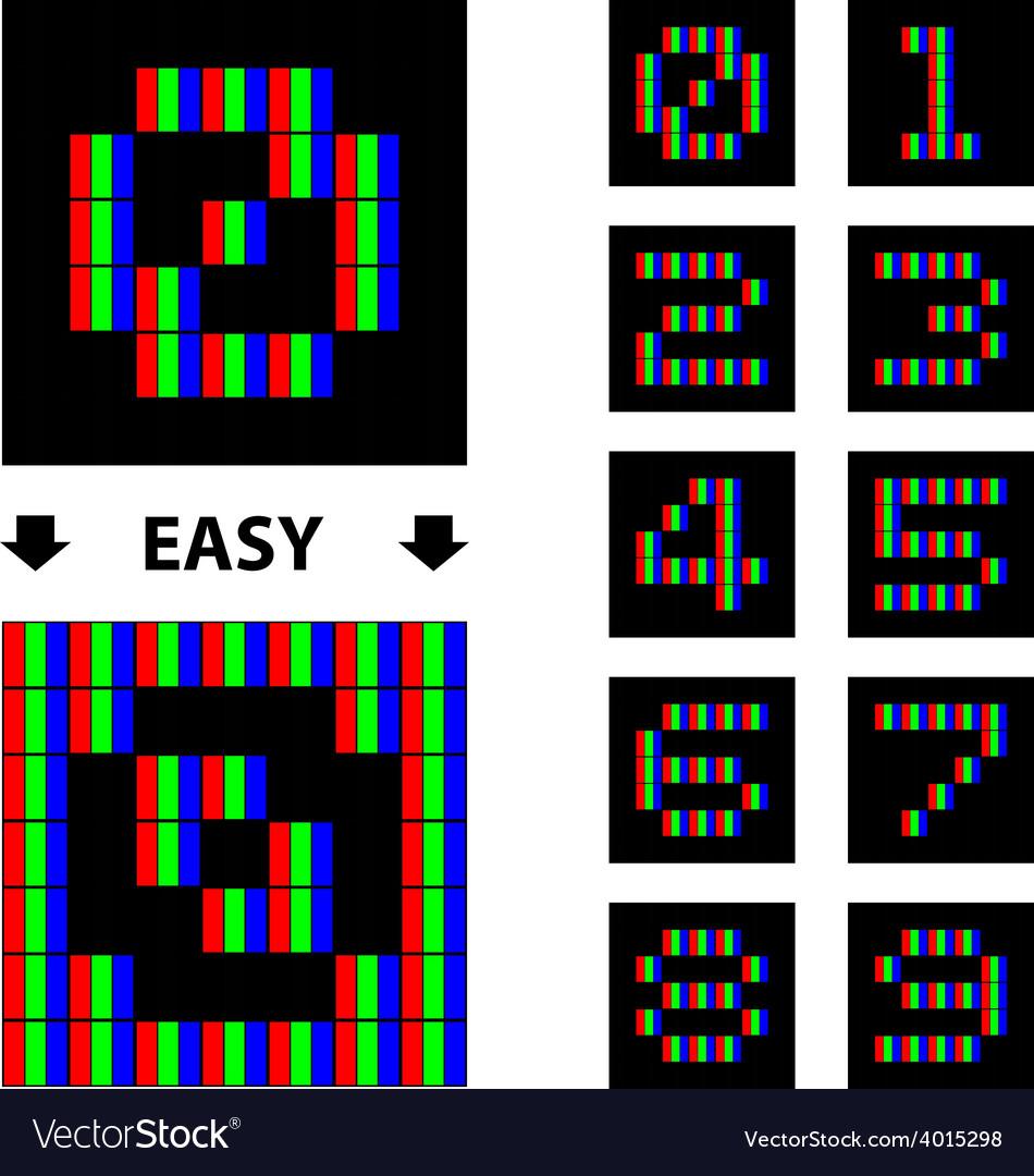 Rgb pixel numbers font vector