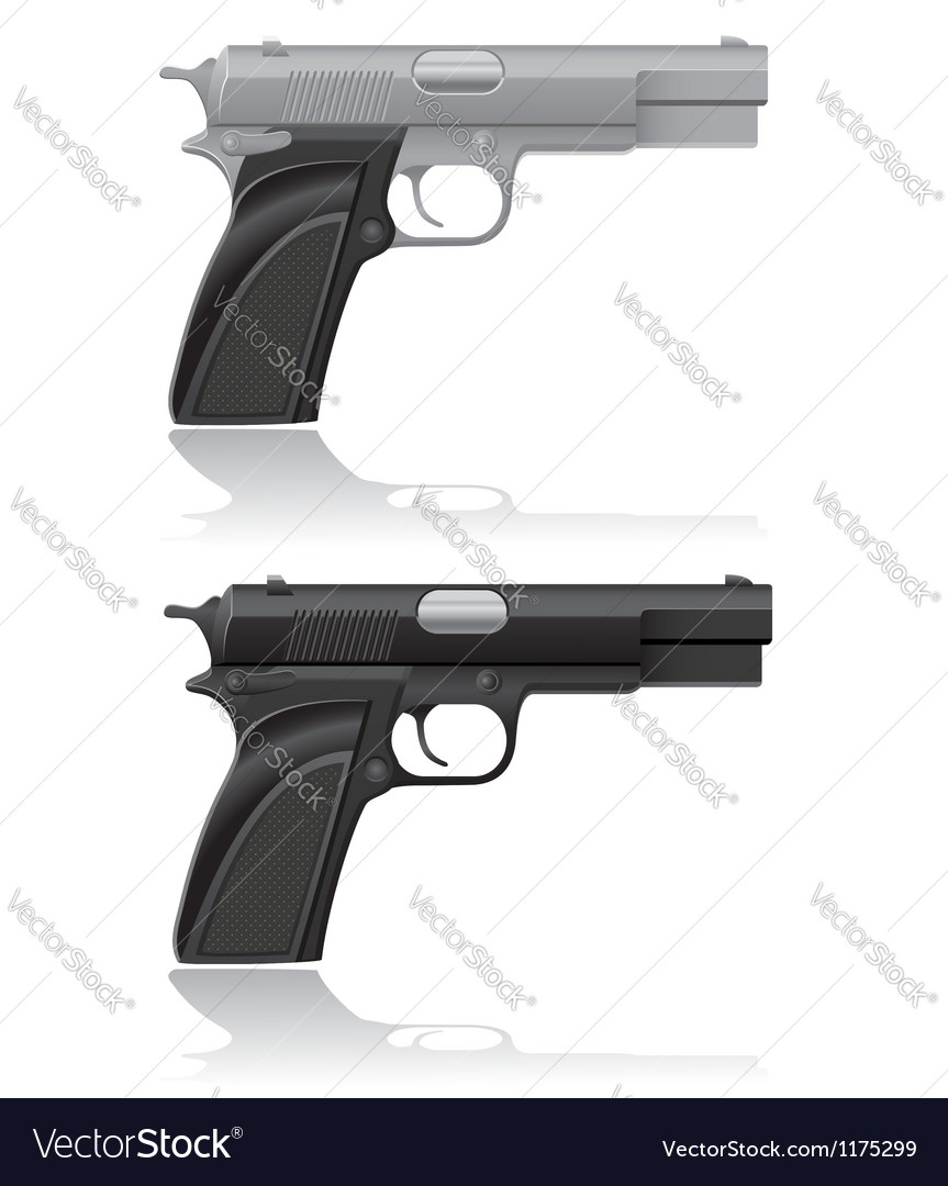 Silver and black automatic pistol vector