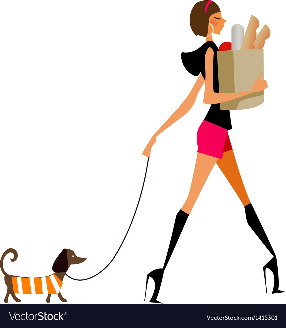 Grocery shopping woman vector