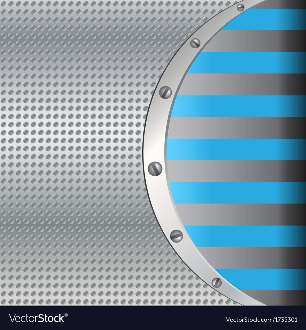Metal background with blue lines vector