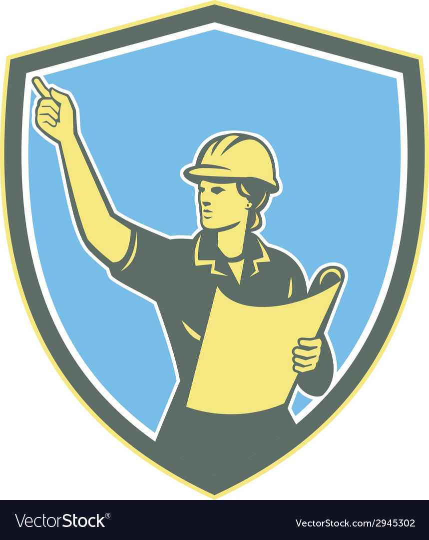 Female construction worker engineer shield retro vector