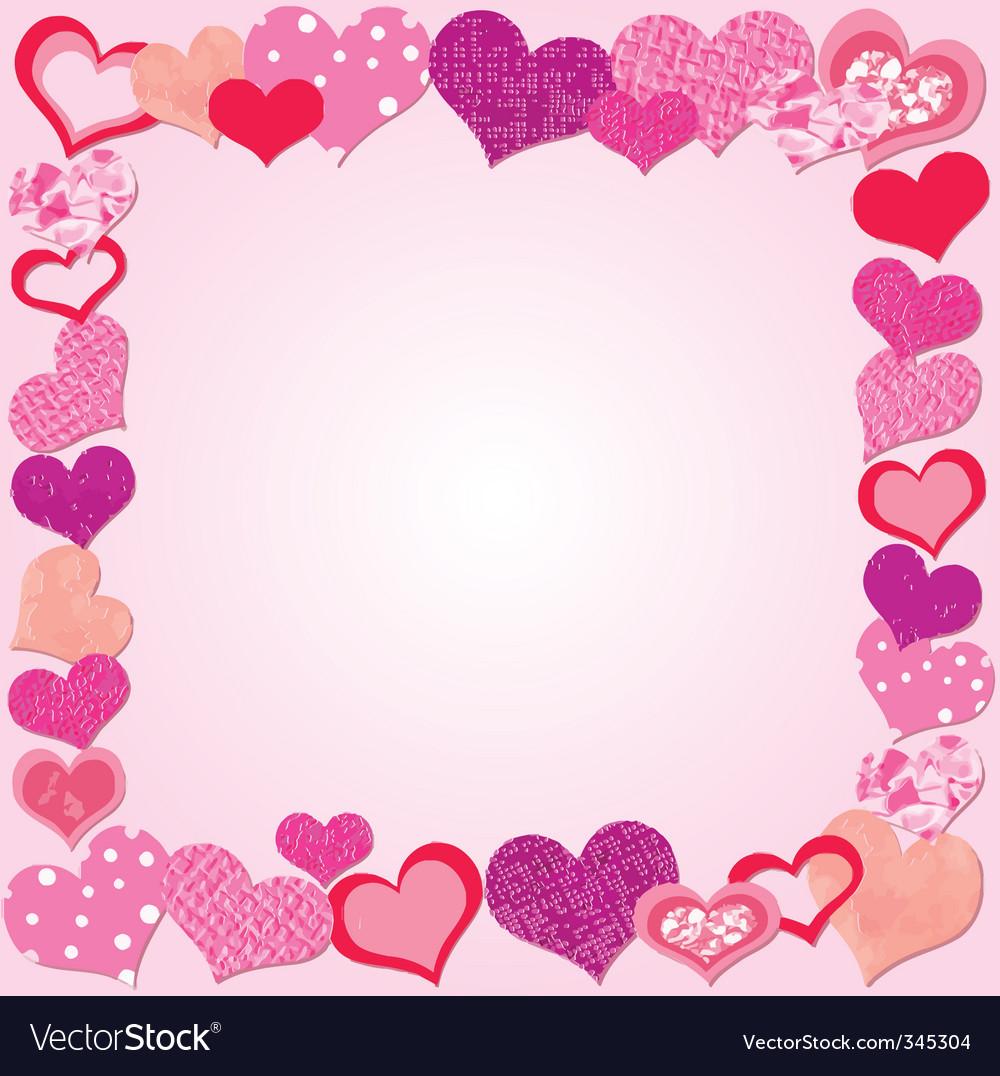 Valentine day pink frame vector