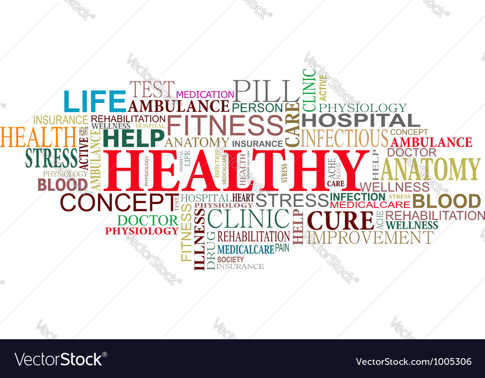 Health and care tags cloud vector