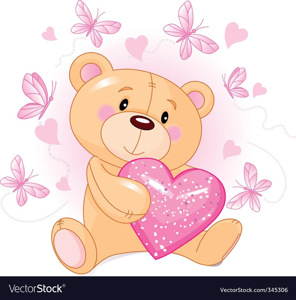Teddy bear with love heart vector