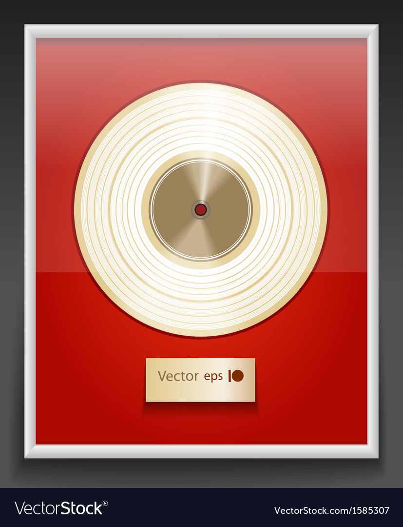 Platinum cd prize with label in frame on wall vector