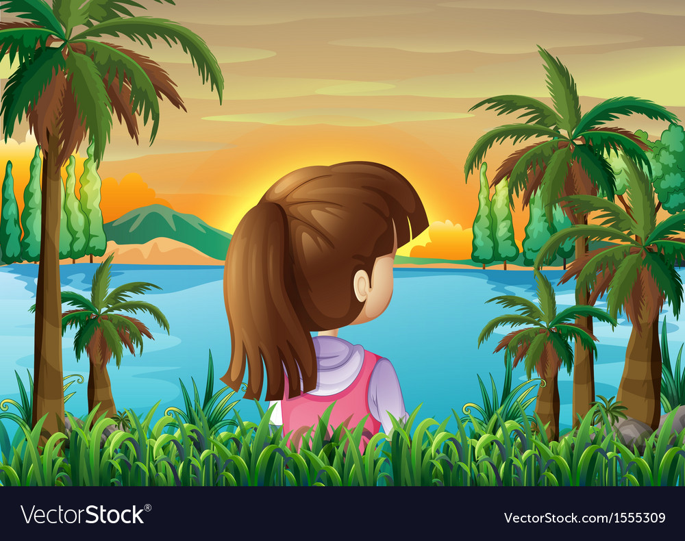 A lady watching the calm sea vector