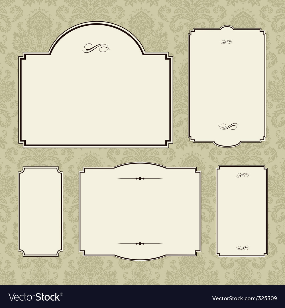 Damask frame set vector