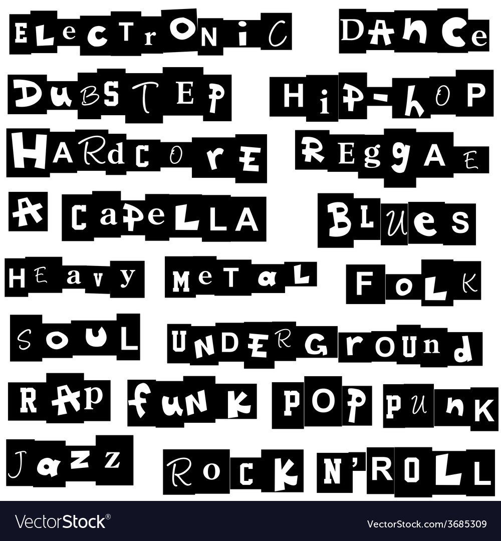 Music genres made of letters vector