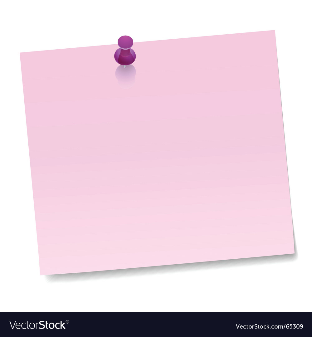 Note with thumbtack vector