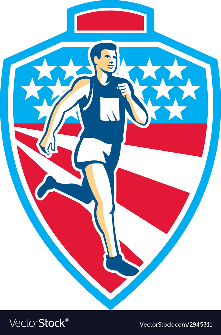 American marathon runner running shield retro vector