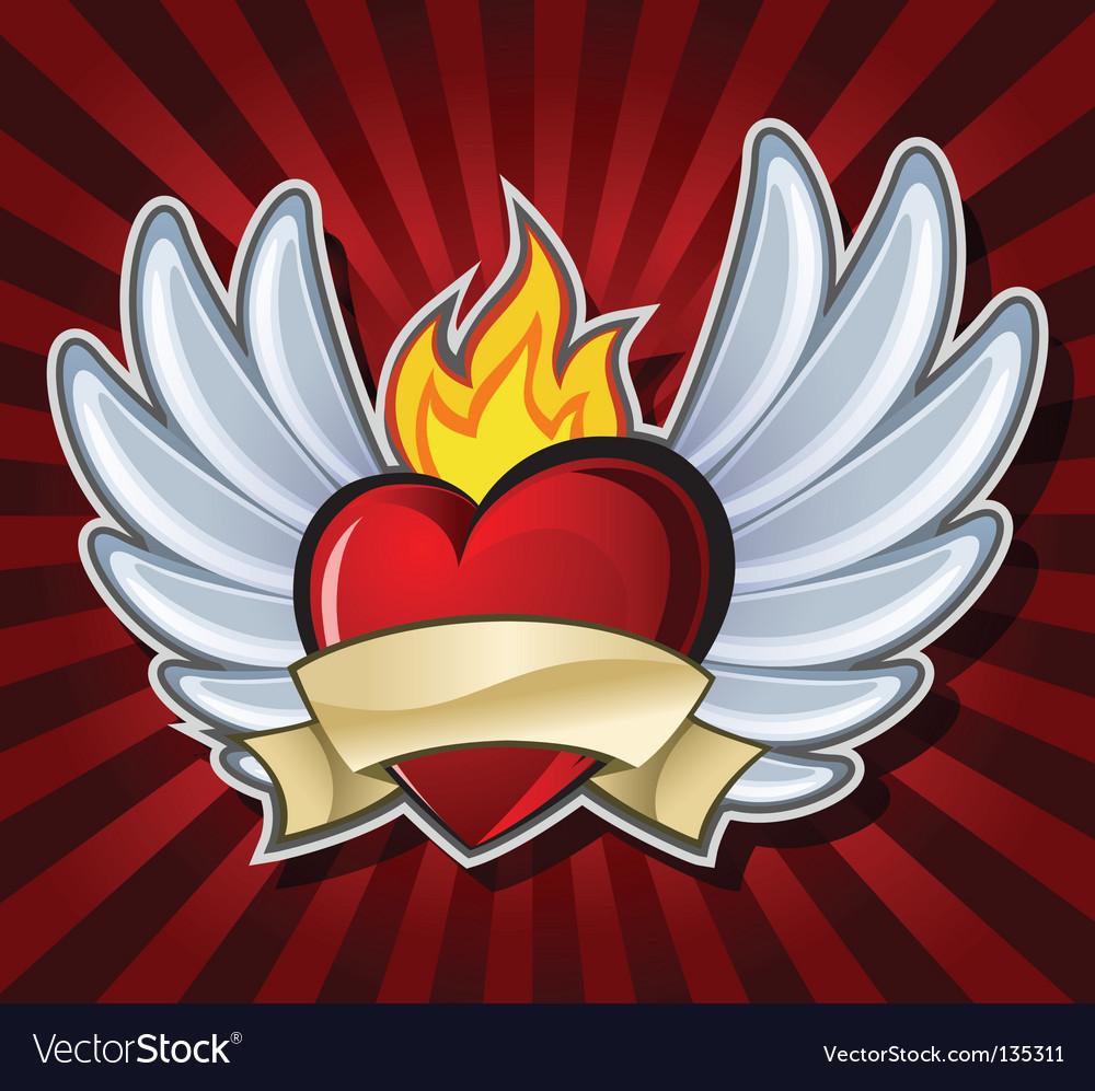 Fiery heart vector