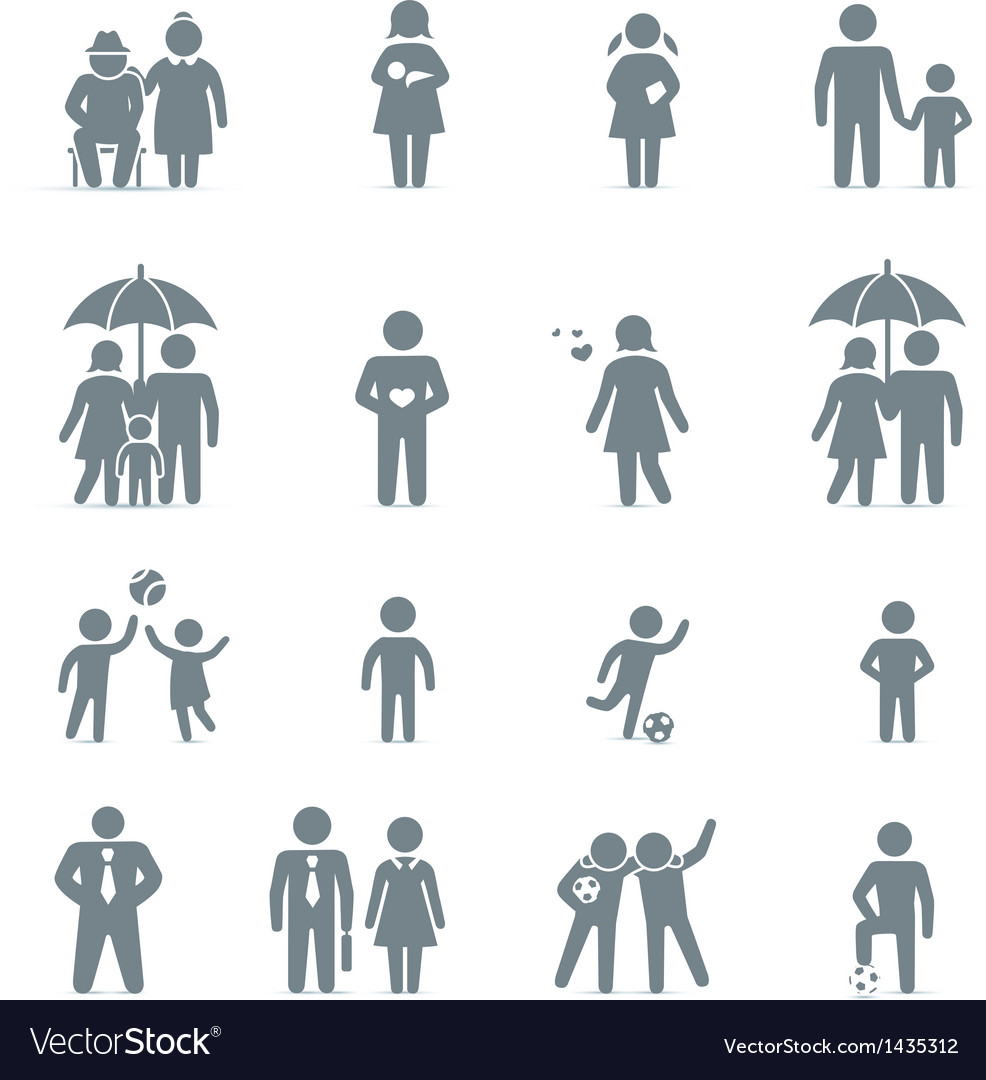 Family and friends icons vector