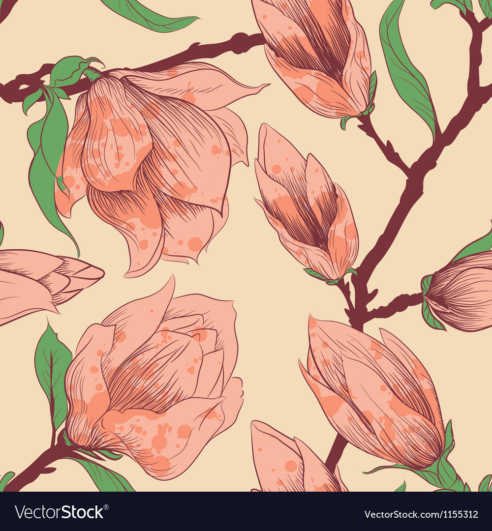 Intage seamless pattern with magnolia flowers vector