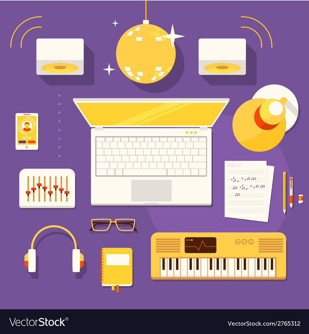 Workplace of musician vector