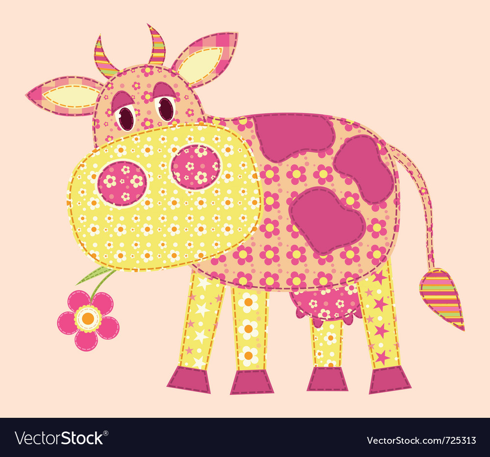 Stitched cow vector