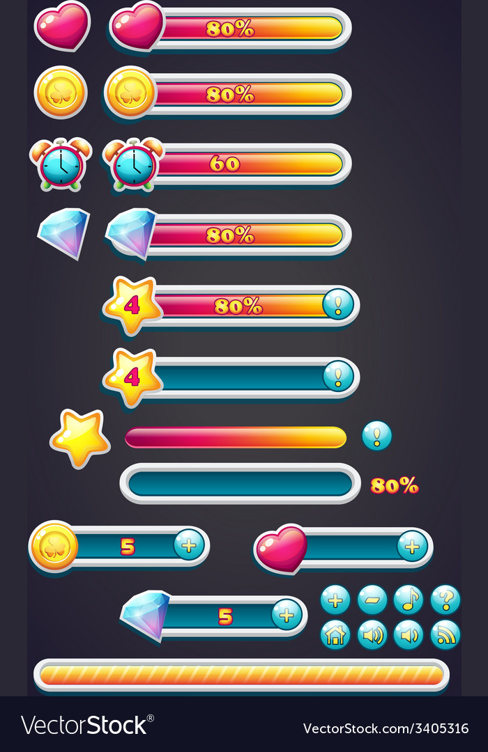 Game icons with progress bar digging as well as a vector