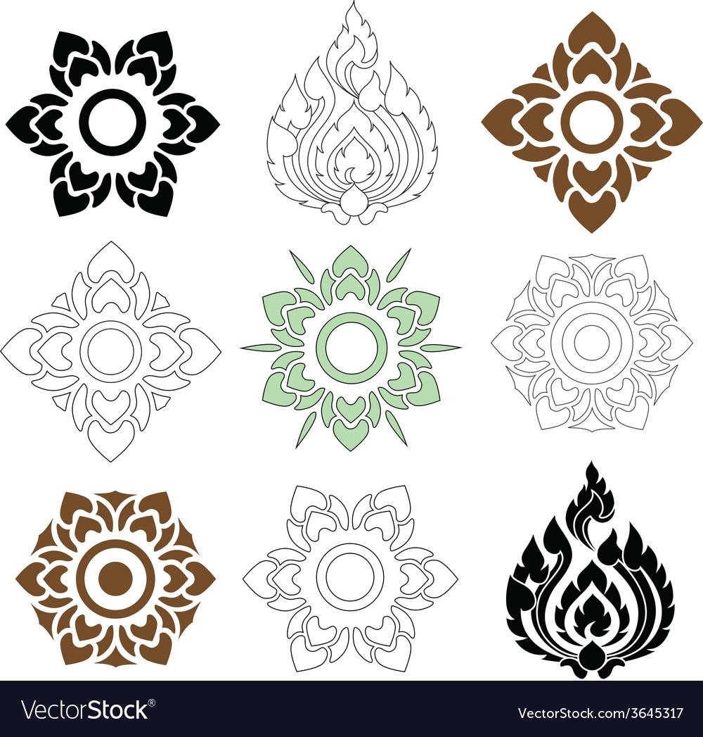 Thai pattern floral vector