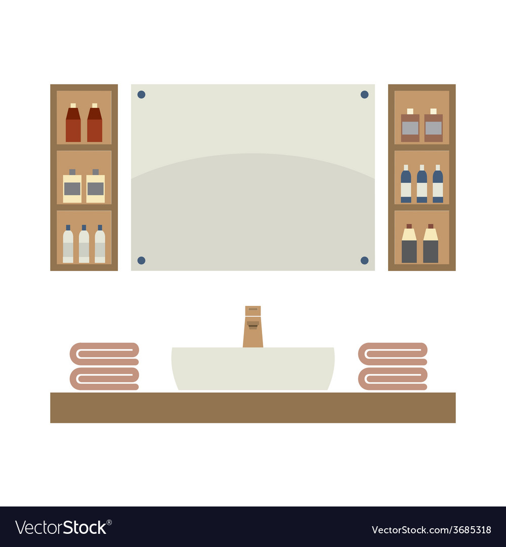 Single lavatory with mirrors and shelves vector