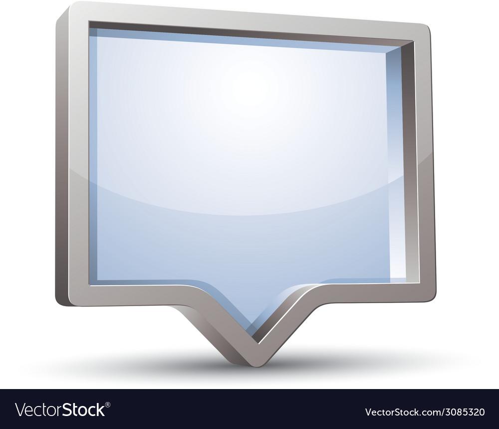 3d rectangular rounded empty speech bubble vector