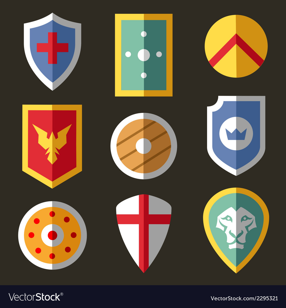 Shield flat icons for game vector