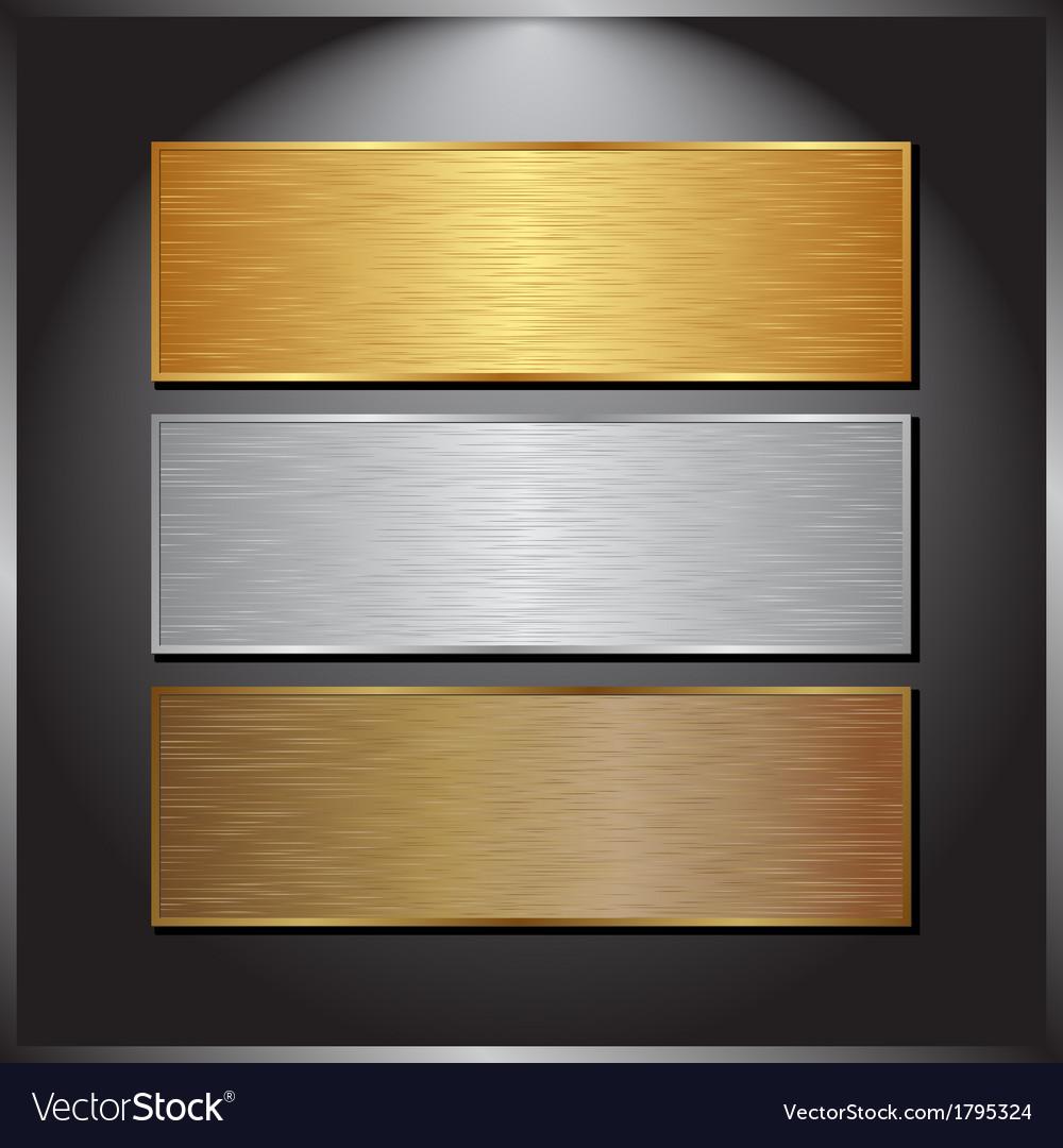 Metallic banners vector