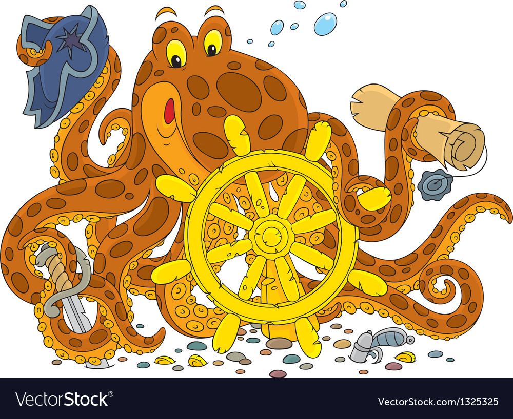 Octopus pirate vector