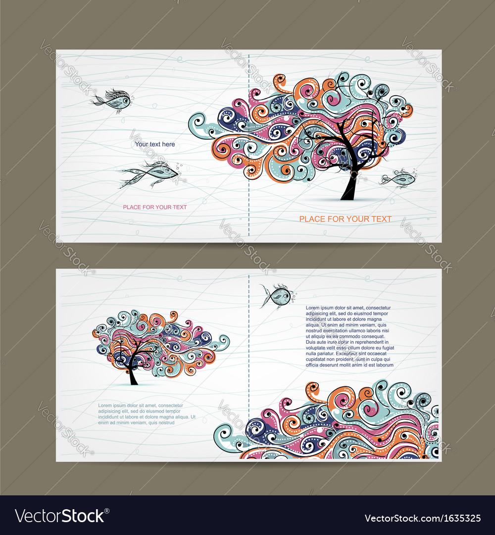 Print design cover and inside page with wavy tree vector