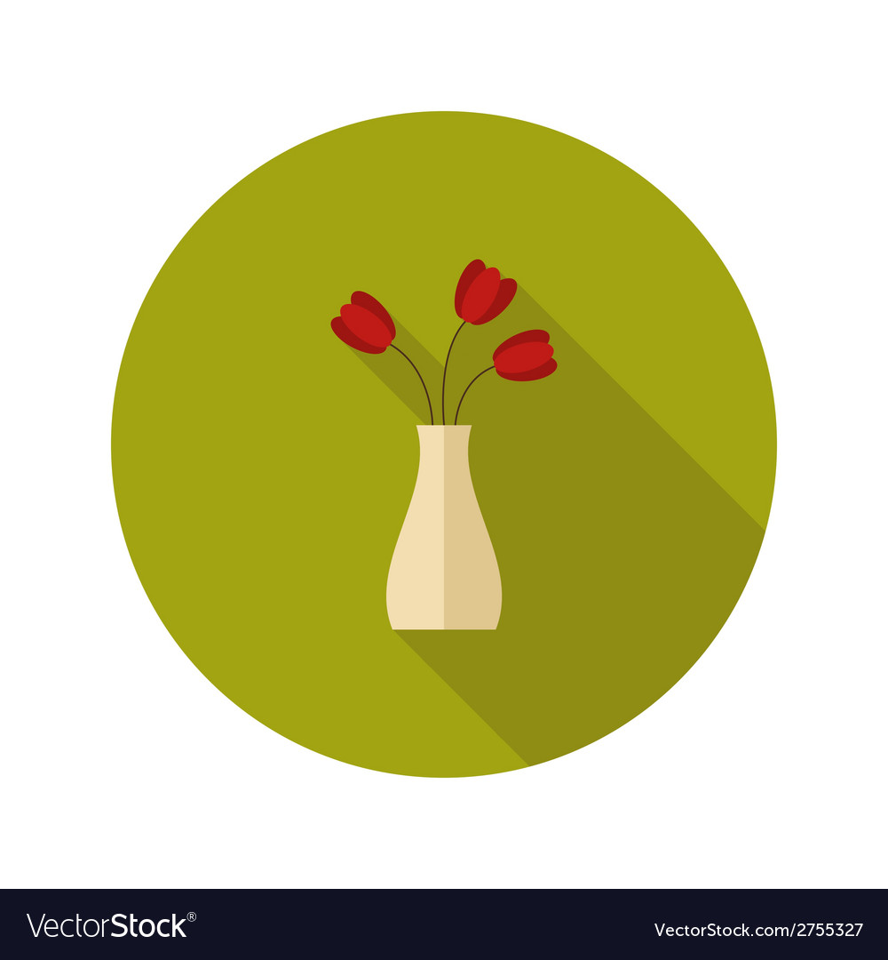 Flat vase with flowers icon over green vector