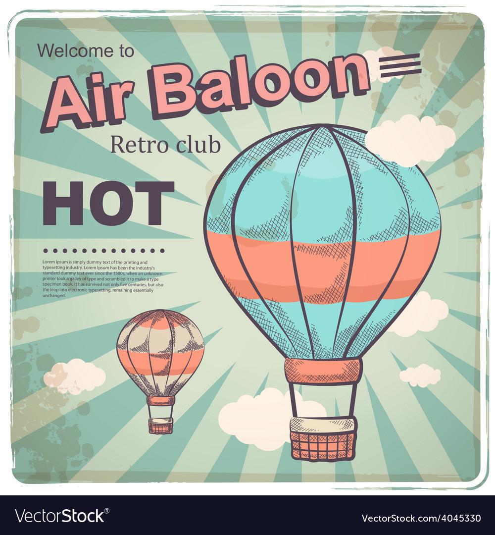 Hot air baloon retro poster vector