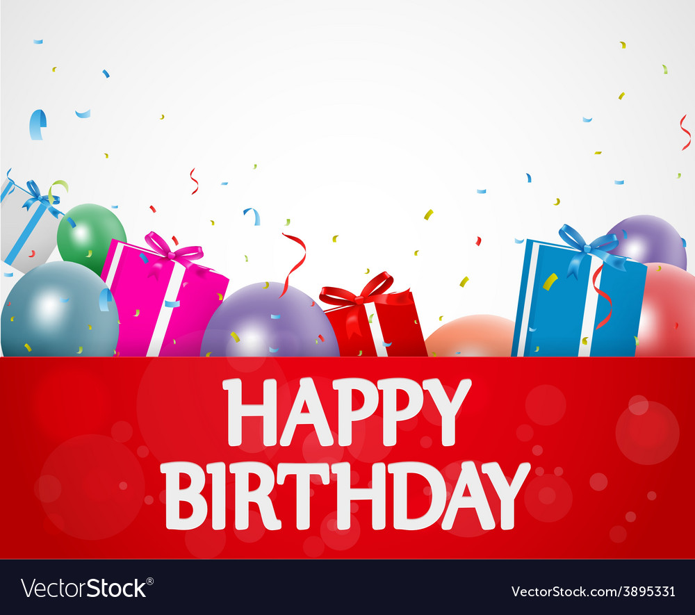 Birthday background with balloons and gift box vector