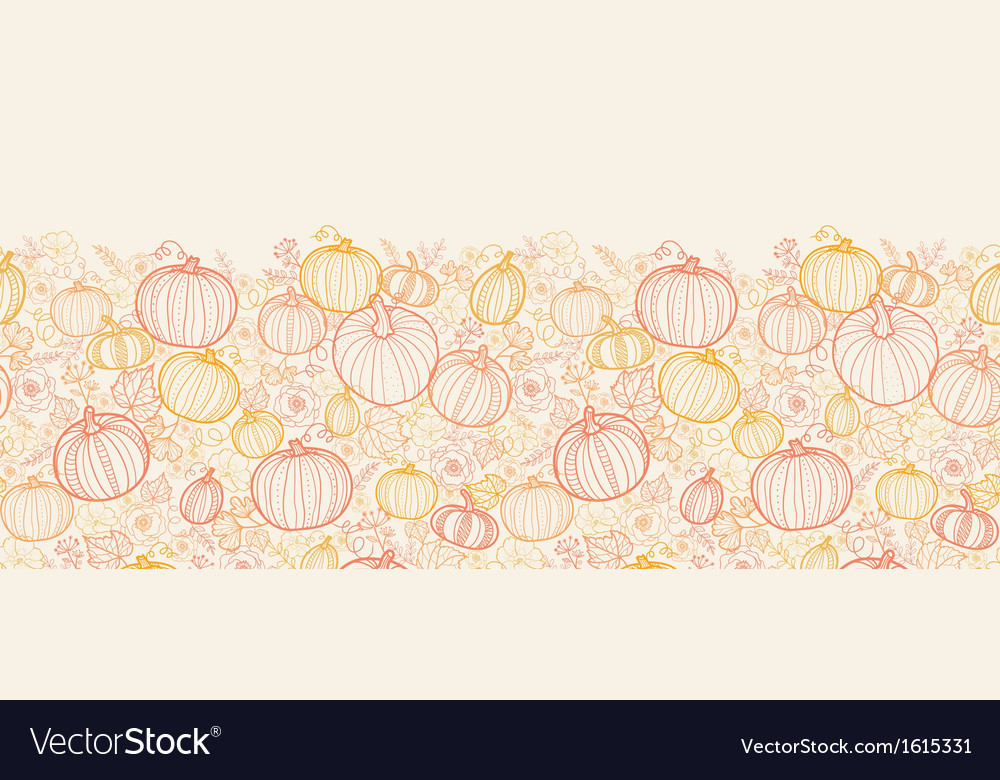 Thanksgiving line art pumkins vertical seamless vector