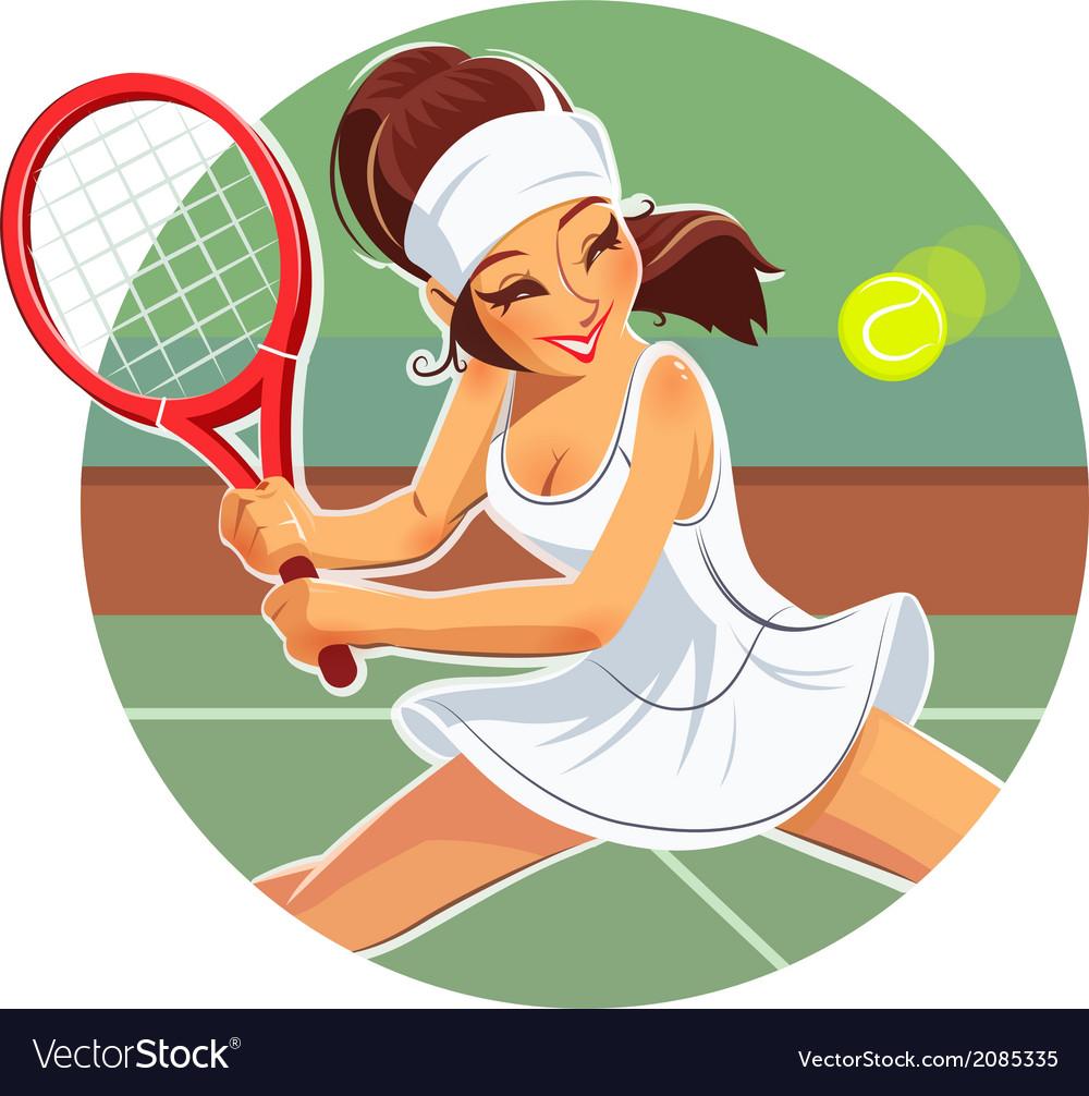 Beautiful girl play tennis vector