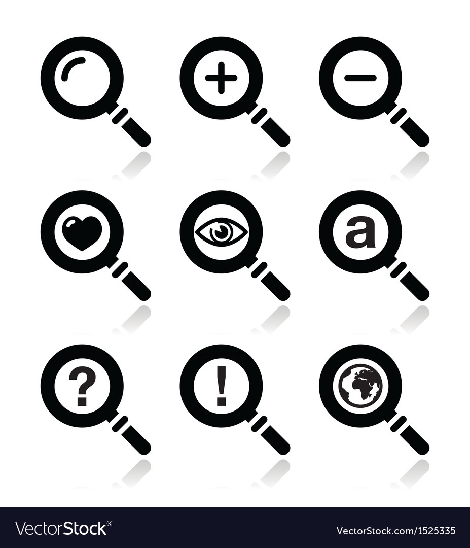 Magnifying glass search icons set vector