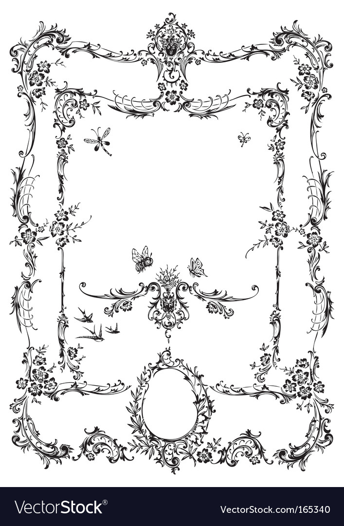Antique frame engraving vector