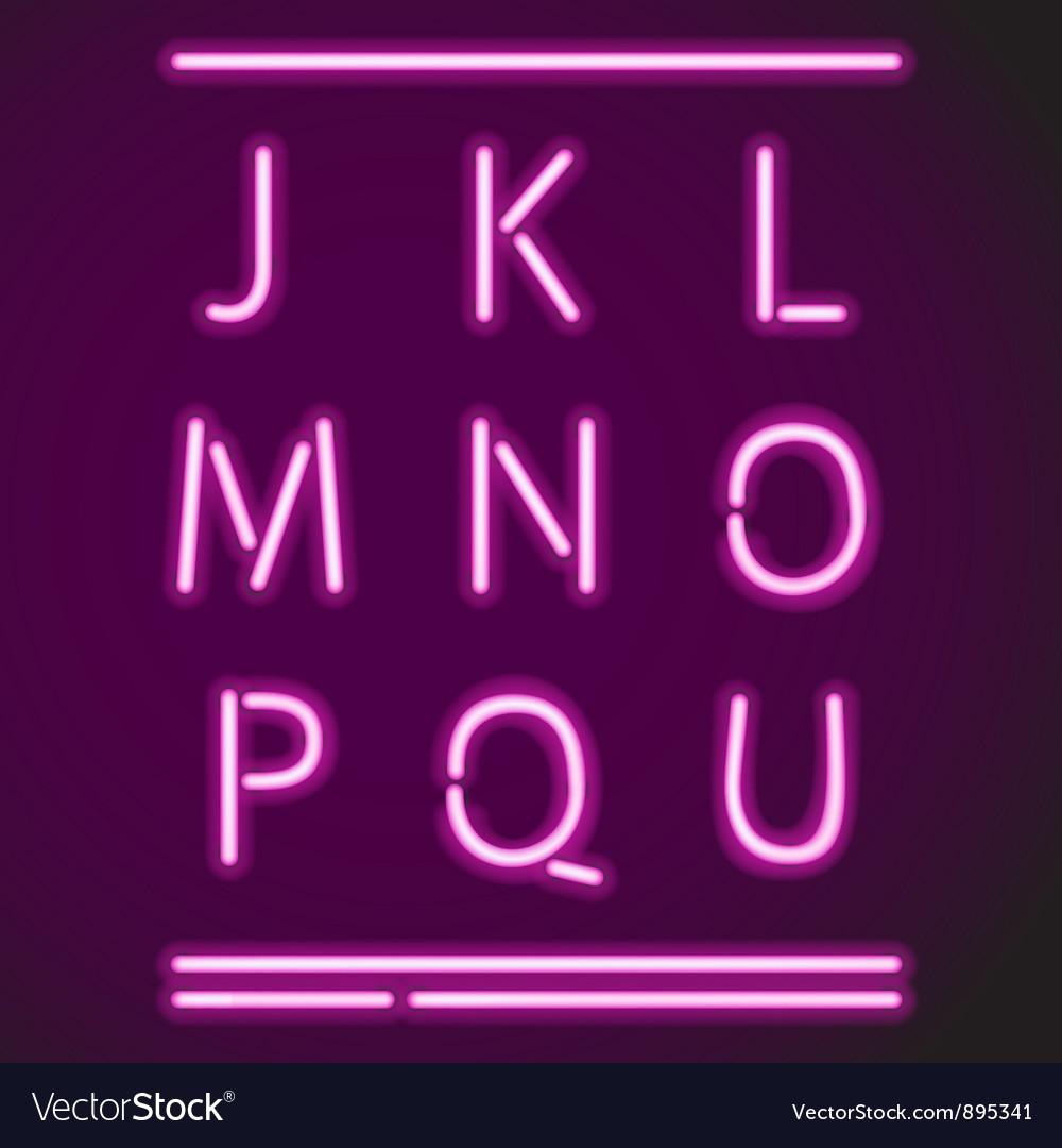 Realistic neon alphabet j-u vector