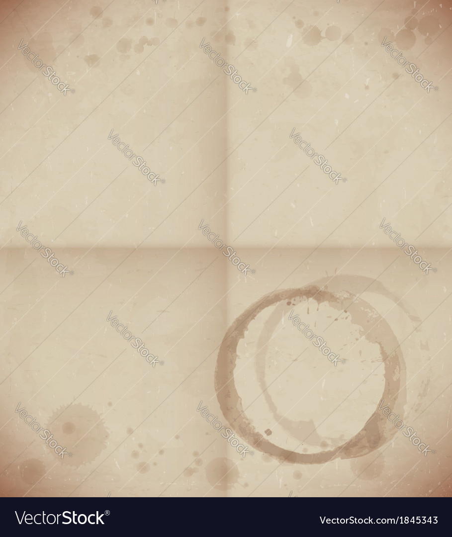 Aged dirty paper with coffee cup trace vector