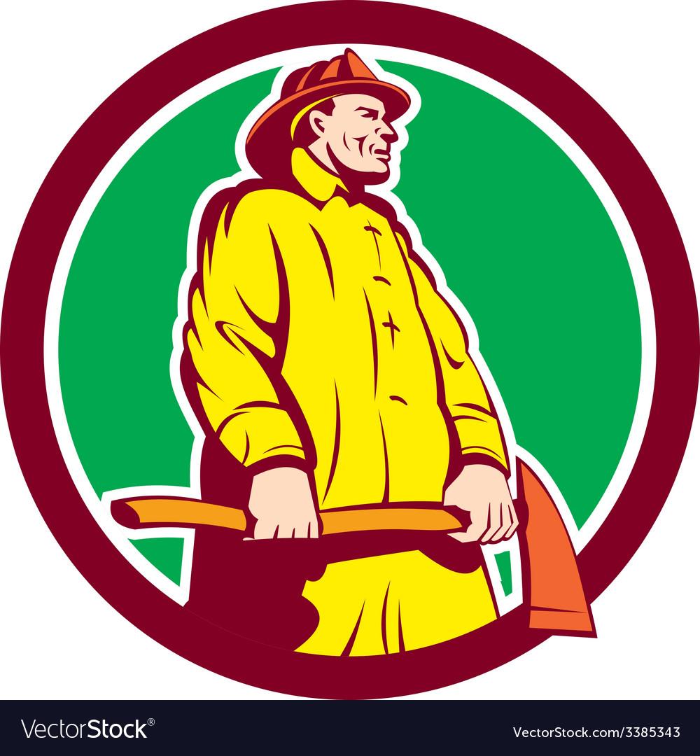 Fireman firefighter standing axe circle retro vector
