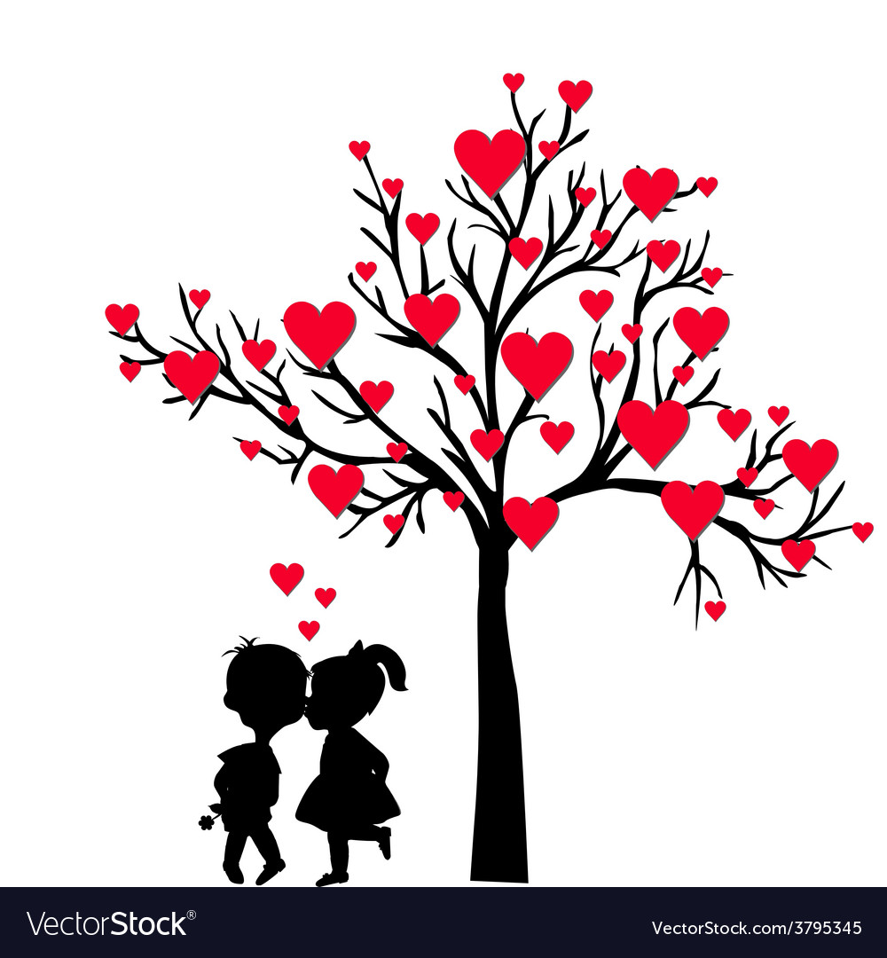 Greeting valentines day card with tree of hearts vector