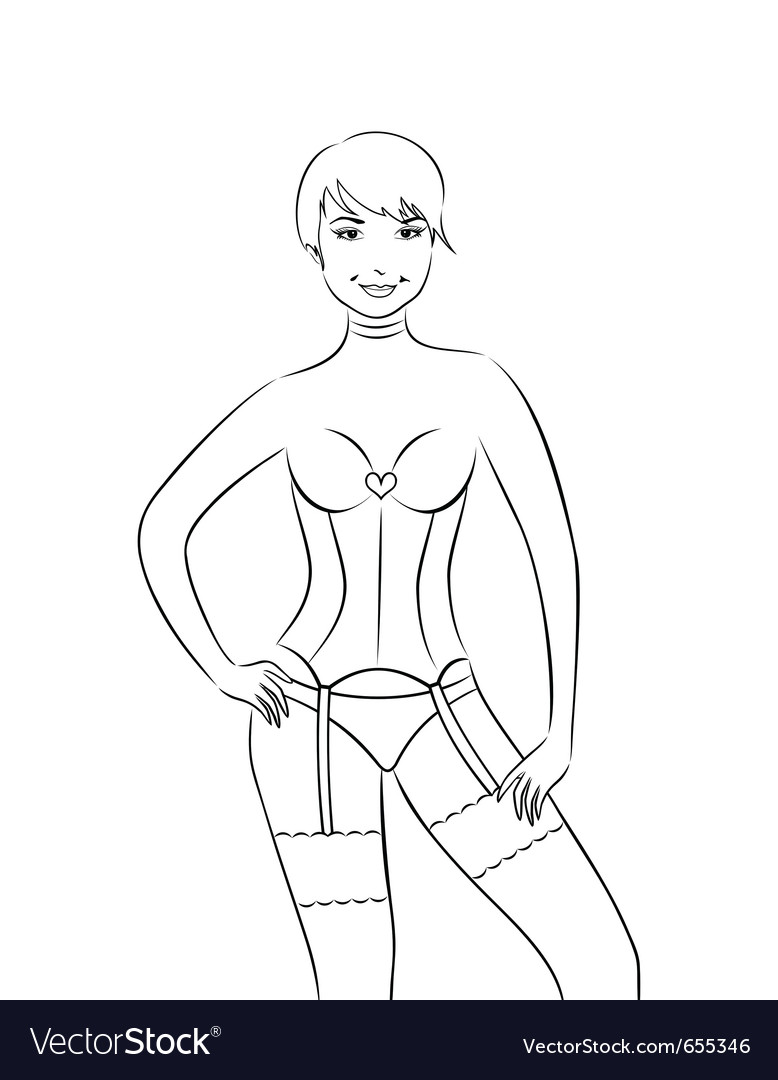 Sexy girl in corset isolated - vector