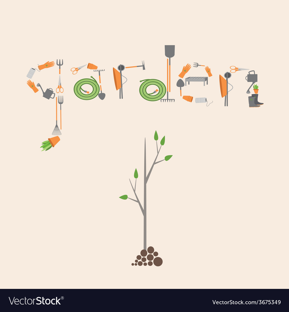 Postcard with a picture of the tools for garden vector