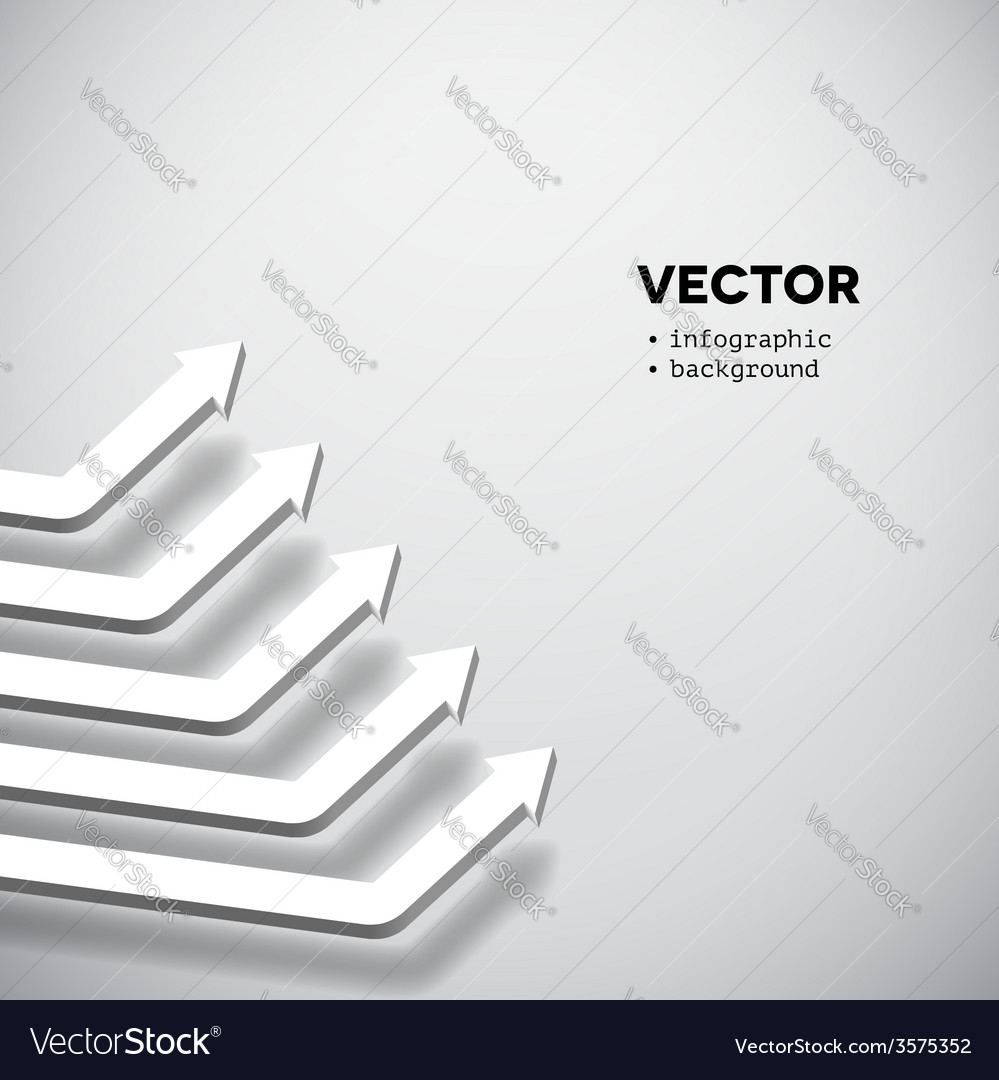 Row of white arrows rising up vector