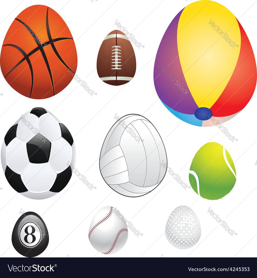 Egg shaped sport balls vector