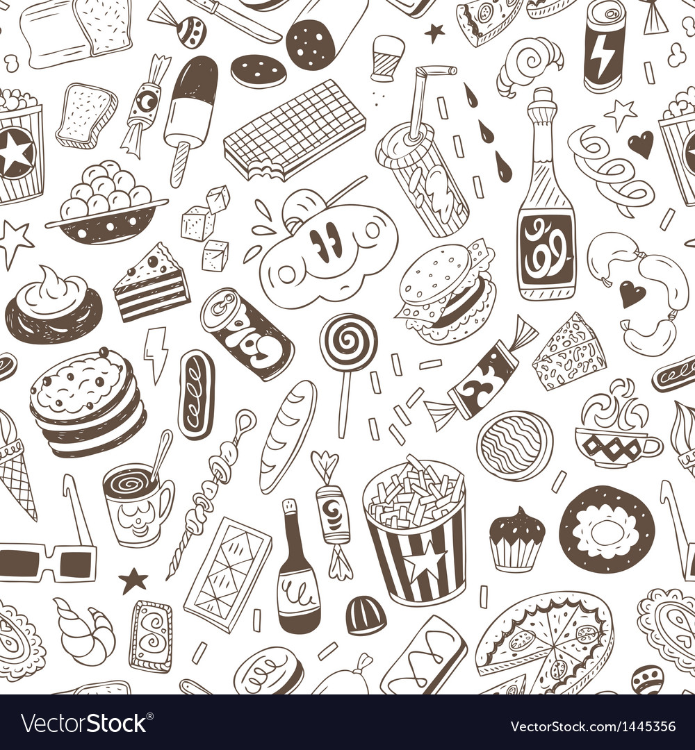 Fast food - seamless background vector