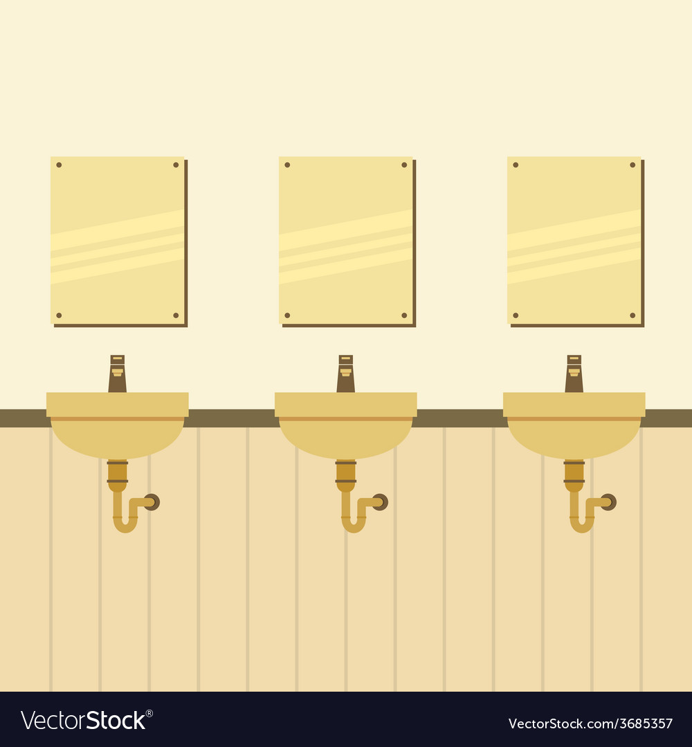 Row of lavatories with mirrors vector