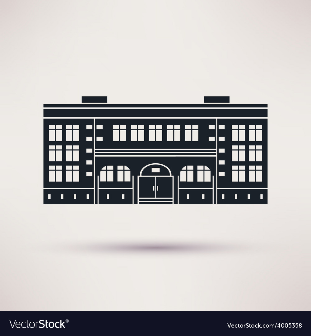 School the building is an icon flat vector
