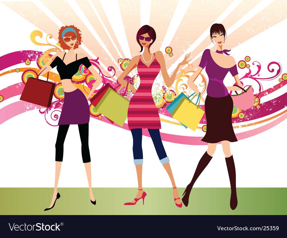 Shopping fashion girls vector