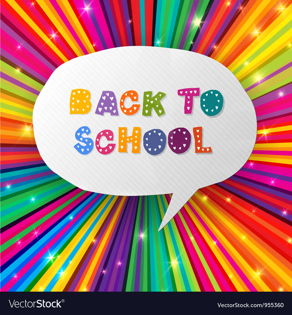 Back to school words in speech bubble on colorful vector