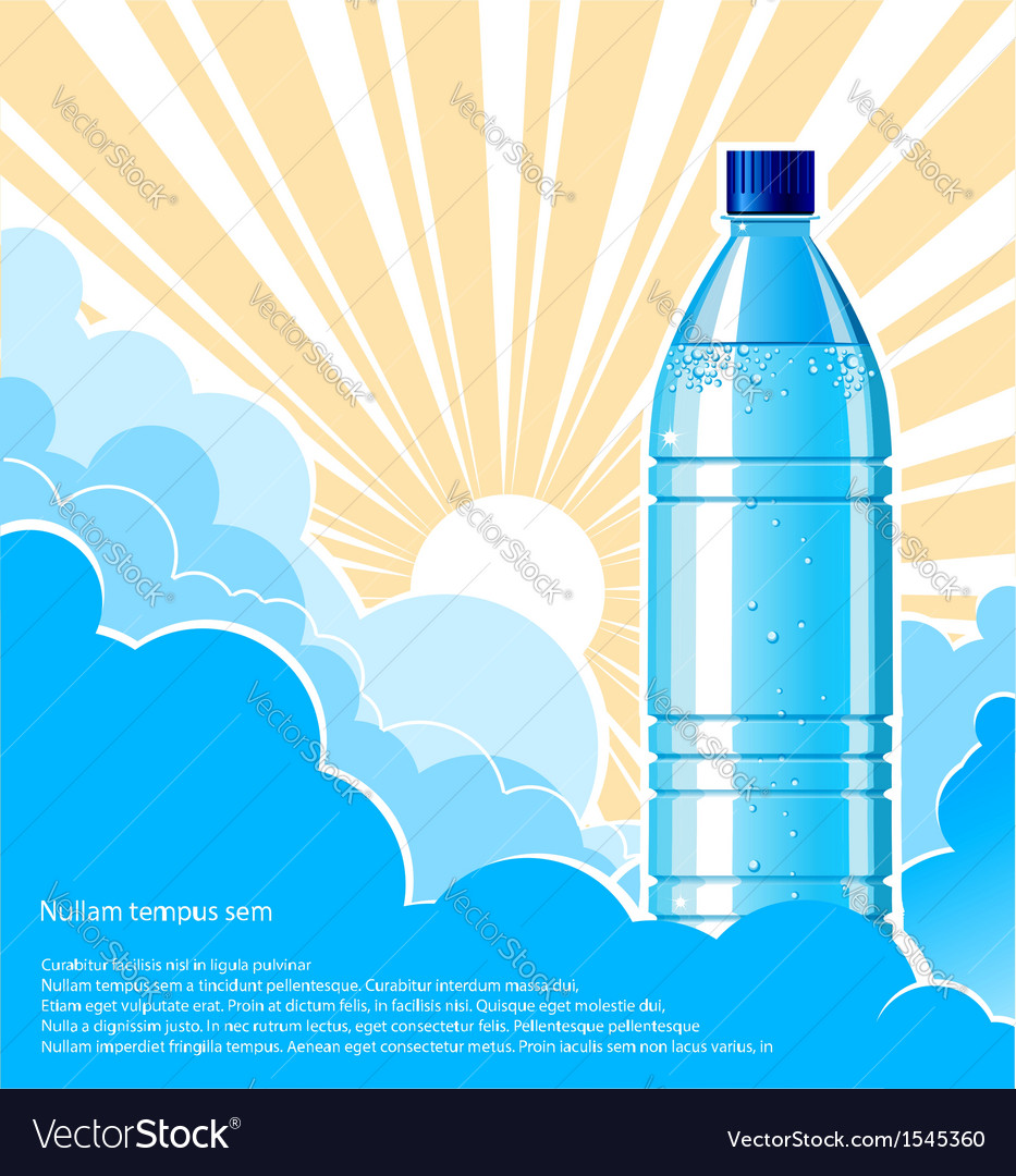 Bottle of water background with sunlight vector