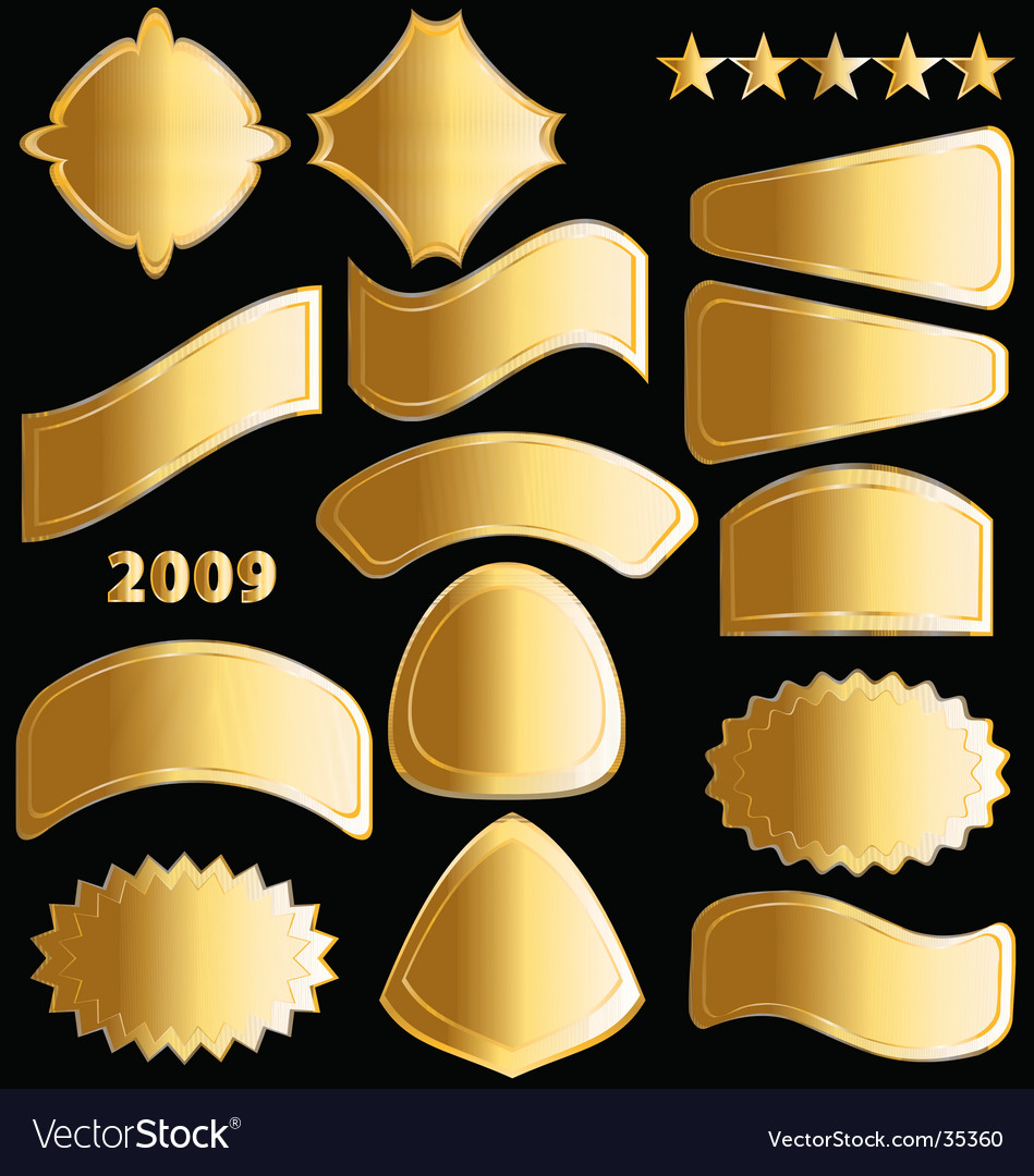 Gold medals and badges vector