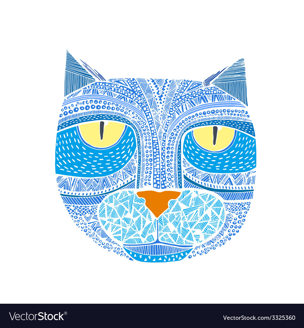 Hand drawn graphic of a cat unique art for vector